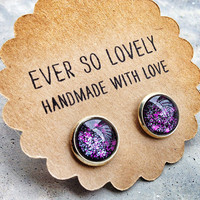 purple and black starry skies - handmade sparkly metallic silver plated nickel free post earrings