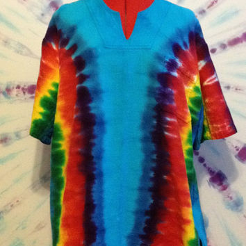 Tie Dye Unisex Shirt - V Neck 100% Cotton Gauze Weave - Bold Blue, Red, Yellow, and Green