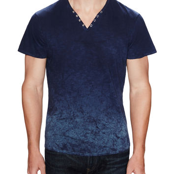 Rogue Men's Ombre Short Sleeve Henley - Blue -