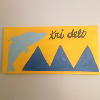 Tri Delta Sorority Letters Painting 8x16 Acrylic Painting