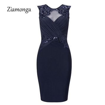 Ziamonga 2018 Summer Bandage Dress Elegant Draped Chest Knee Length Casual Sequin Bodycon Dress Women Work Wear Office Dress