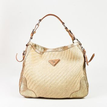 Prada Beige Brown & Metallic Gold Straw Python & Leather Shoulder Bag