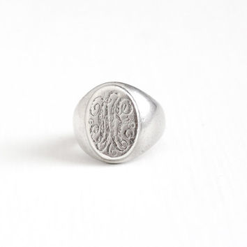 Antique Sterling Silver Statement Signet Ring - Men's Size 9 Vintage Early 1900s Script Fancy Initials LAE or JAE Oval Center Heavy Jewelry