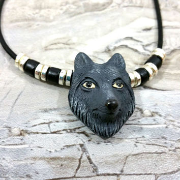 Tribal Pendant, Mens Wolf Necklace, Boyfriend Gift, Unisex Jewelry