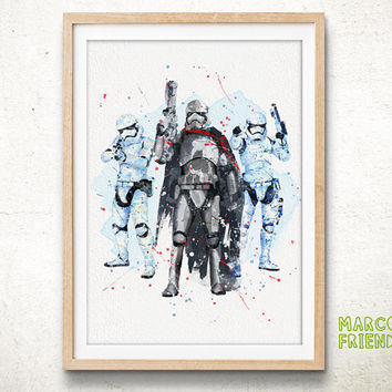Captain Phasma & Stormtrooper, Star Wars - Watercolor, Art Print, Home Wall decor, Kids Wall Art, Watercolor Print, Star Wars Poster