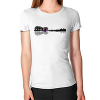 Music instrument tree silhouette ukulele guitar shape Women's T-Shirt