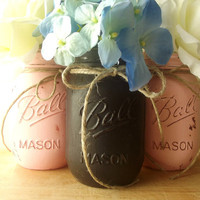 Pink and Black Painted Mason Jars - Rustic - Style, Painted Mason Jars | Home Decor