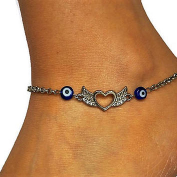 Evil Eye And Angel Wings Charm Anklet, Angel Wing With Blue Evil Eye Dainty Anklet,  Evil Eye Anklets, Summer Ankles, Beach Ankle Bracelet