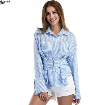 Blue Stripe Corset Waist Long Sleeve Shirt Women Pockets Front Buttons Up Autumn New Design High Street Top Clothing