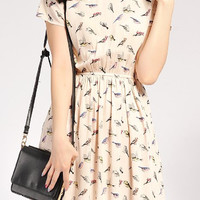 Beige Bird Print Short Sleeve Pleated Dress