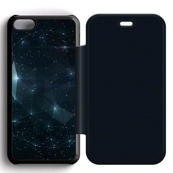 Night Sky Constellations Leather Wallet Flip Case iPhone 5C