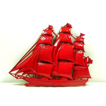 red ship, nautical home decor, upcycled, wall art, unique, wall decor, ships, boats, pirates, pirate ship, antique ship