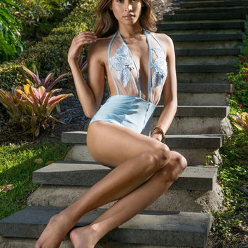 MIJANOU Australian Designer PARIS Blue Lace One Piece Monokini Swimsuit