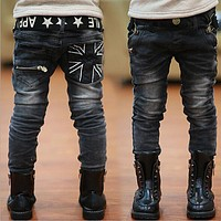 Kids Jeans Spring and Autumn New Boy Casual Slim Black Jeans Boys Trousers