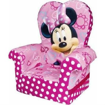 Pink Minnie Mouse High Back Chair Toddlers Preschooler Children Bedroom Living Room Home
