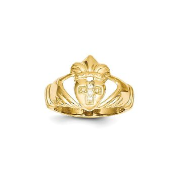 14k AAA Diamond claddagh ring