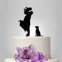 Bride and Groom silhouette wedding Cake Topper with dog,  acrylic Wedding Cake Topper,  unique wedding cake topper, funny topper
