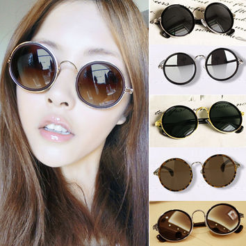 Hot Summer Fashion Retro Vintage 90s Womens Round Lens Sunglasses for women Steampunk  Sun glasses Free Shipping A1