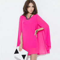 Batwing Sleeve Shawl Casual Dress