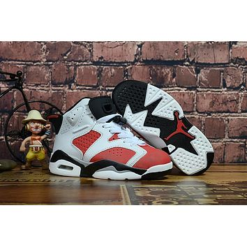 Air Jordan Retro 6 GS Carmine Kid Basketball Shoes