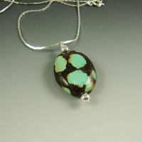 Turquoise Pendant Large Blue Spots Black Matrix