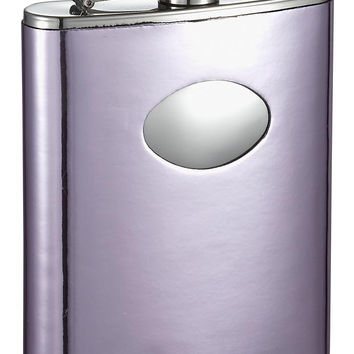 Visol Thistle Light Purple Leatherette Stainless Steel Hip Flask - 6oz