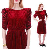 40s Style Vintage Bordeaux Red Velvet Dress Ruched Velour Wiggle Bombshell 70s Retro Glam Hourglass Holiday Party Dress Women Size XS Small