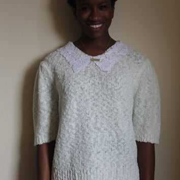 80s Oversized Cream Sweater with Lace Pan Collar
