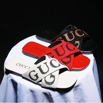 GUCCI Tide brand fashion wear flat bottom cross letter wild female models sandals Black