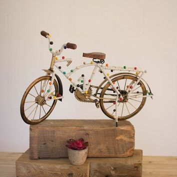 Decorative Beaded Bicycle With Antique Brass Frame