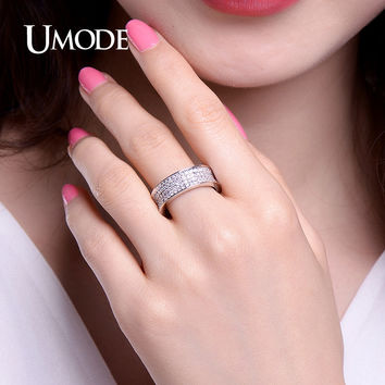 UMODE 2017 Cubic Zirconia Full Paved Wedding Band Rings White Gold Color Vintage Ring Jewelry for Women Top Quality Bague UR0352
