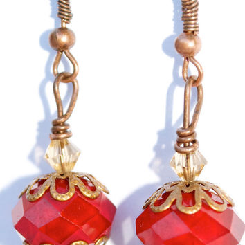 Red Crystal earrings by YssormDesigns on Etsy