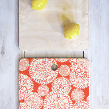 Heather Dutton Delightful Doilies Saffron Cutting Board Square