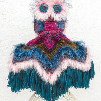 Hooded Owl Costume - 2-4 Year Old Size - Crochet Owl Poncho - Fringe Fall Poncho