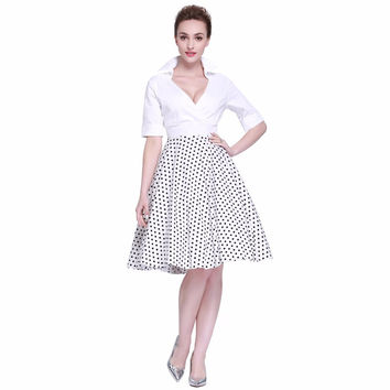 Heroecol Women Cross V Neck Short Sleeve Vintage 50s 60s Swing Style Dresses Rockabilly 1950s 50's Party Black Dots Dress