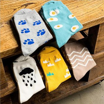 Funny Egg Pug Cloud Patterned Socks Funny Crazy Cool Novelty Cute Fun Funky Colorful