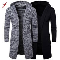 sweater men cardigan long camisa masculina Mens Slim Fit Hooded knit Sweater Fashion Cardigan Long Trench Coat Knitted Jacket