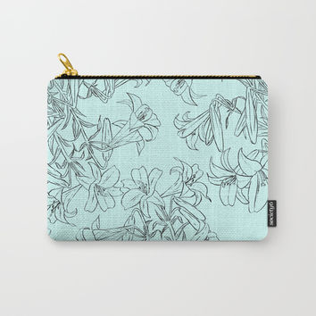 lily drawing in green background Carry-All Pouch by Color and Color