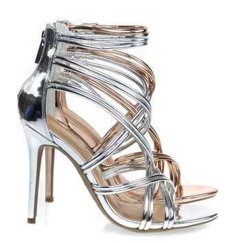 Royals42 Silver By Anne Michelle, High Heel Stiletto Sandal w Metallic Straps. Evening Party Shoes