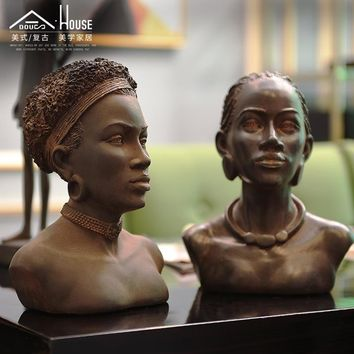African American woman retro bust figure art old desktop resin entrance model study ornaments