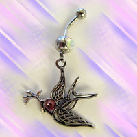 SALE-Tibetan silver two sides hollow peace bird Belly Button Navel Ring, with Pink Crystal Eyes, Belly Button Ring, For Women and Teens