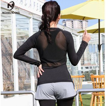 2017 Women Mesh Patchwork Yoga Top Full Sleeve Sports T Shirt Quick Dry Fitness Autumn Gym Clothing Running Shirts Activewear