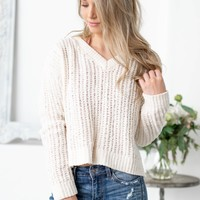 Knitted Cream Crop Top Sweater