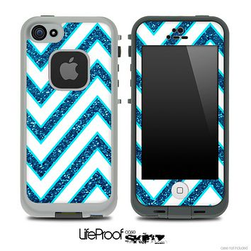 Large Chevron and Blue Sparkled Skin for the iPhone 5 or 4/4s LifeProof Case