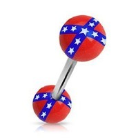 "14g Surgical Steel Tongue Ring Barbell Body Jewelry Piercing with Rebel Flag Logo Design Acrylic Balls 14 Gauge 5/8"" Nemesis Body JewelryTM"