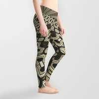 Tribal Gold Glam Leggings by Webgrrl