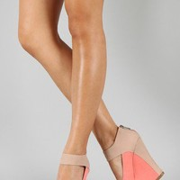Bamboo Smooch-37 Two Tone Peep Toe Platform Wedge