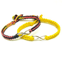 Infinity Bracelets, Set of Two, Flirt and Bright Yellow Macrame Hemp Jewelry for Couples or Friends