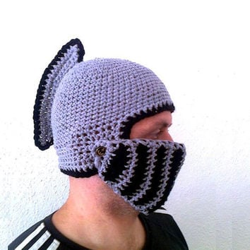 Crochet pattern kngiht helmet, knight hat crochet instruction, instant download, adult size