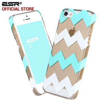 ESR Clear Hard PC Back Case with Simple Pattern Cover Case for iPhone SE 5 5s 5se
